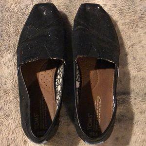 Black sparkly tom flats